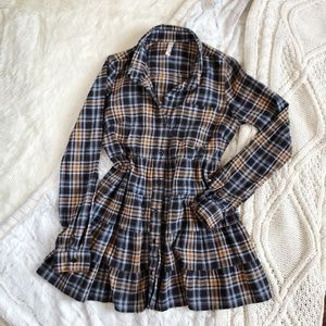 Free People Eternal Sunshine Plaid Shirt Tunic